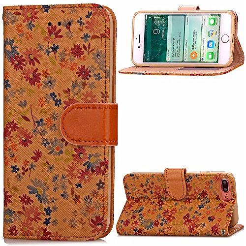 iPhone Case Cover Étui en cuir Wallet mixte Couleur PU Avec Cash Card slot petites fleurs Motif Case Cover Support Soft Case TPU pour Apple IPhone 7 Plus ( Color : Brown , Size : IPhone 7 Plus ) Metallic