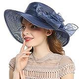 Welrog Large bord Chapeau de soleil- Femmes Derby Souple Chapeau Gros Fleur Chapeaux de Soleil UPF 50+ (Bleu marin)