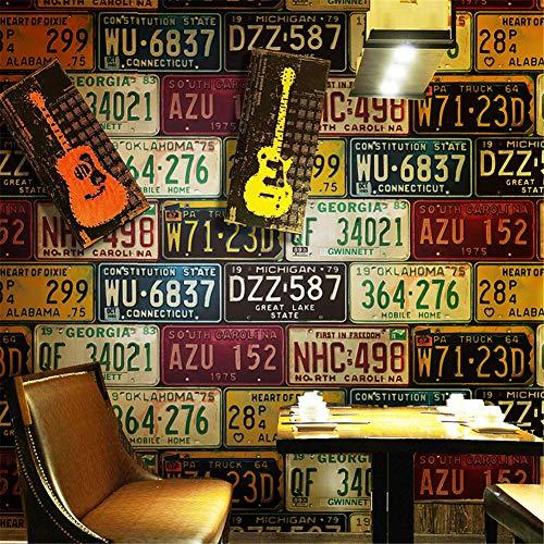 Retro- Auto-Eigenschaftspapier Zinn-Platte des Dachbodens 3d PVC Retro- Vinylhintergrund-Tapete für Bar-Restaurant KTV-Hintergrund, A