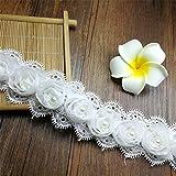 Nicole Diary Flor de la vendimia perla de encaje bordes nupcial de la boda recorte de cinta apliques bordados artesanía de costura White