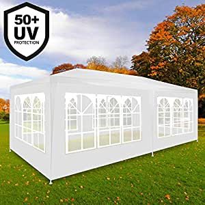 Deuba Festzelt Rimini 3x6m weiß | UV-Schutz 50 + | Wasserabweisend | 18m² | Festival Pavillon | 6 aufrollbare Seitenwänden | 18 Rundbogenfenster | Modell 2018 | Farbauswahl