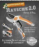 Gartenpaul Ratsche 2.0 Gartenschere | Hybridschere | Ratschenschere | Rollschere | 2 in 1 | Ratsch and Roll | Amboss Gartenschere | inkl. Schärfer