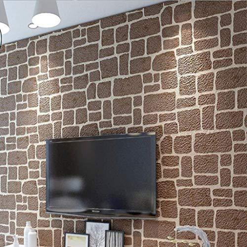 Tapete, 3D-Bilder Brick Wallpaper Suede Emboss Wand-Papier for Schlafzimmer Wohnzimmer TV Hintergrund Home Decor Wandbekleidungen (Color : Brown) -