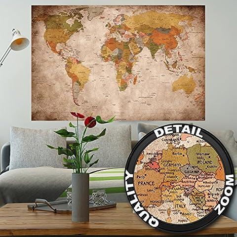 Póster used look– decoración mural Globo continete Atlas mapa mundial retro old school vintage map mundiall Geografia optik usado | foto póster mural imagen deco pared by GREAT ART (140 x 100