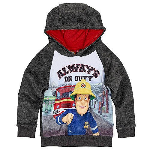 Feuerwehrmann Sam - Kinder Jungen Sweatshirt Pullover mit Kapuze Gr. 98 - 128, Größe:110, Farbe:Grau (Feuerwehrmann Kinder-sweatshirt)