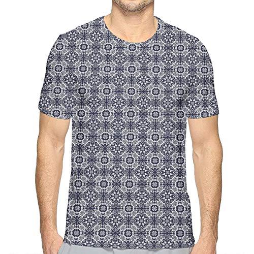 3D Printed T Shirts,Japanese Inspired Curves Lace Arrangement Antique Asian Floral Composition M -