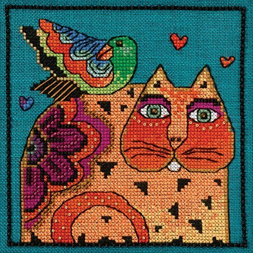 laurel-burch-feathered-friends-on-aida-counted-cross-stitch-5x5-14-count-by-mill-hill