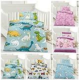 Kinder Bettwäsche, Babybettwäsche 100x135 cm + 40x60 cm 100% Microfaser für Jungen und Mädchen in verschiedenen Designs, Dinos Blau