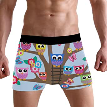 LJXTYJM Men's Boxer Briefs Cute Colorful Bird Owl Flower Tree Soft Short Underpants Underwear for Men Boys
