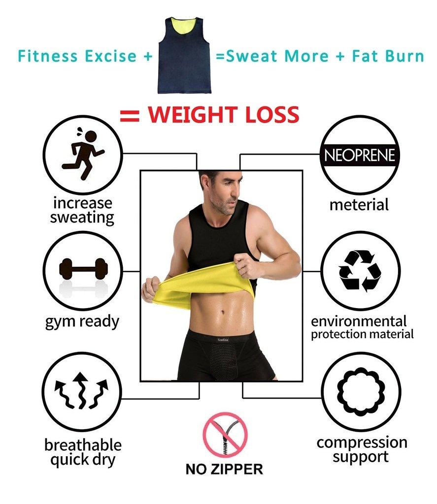 DODOING Hot Thermo Sweat Tank Top Workout Training Weste Sauna Anzug Taille Shaper Slimming Shirt Body Shapers Vest f/ür Gewicht Loss kein Rei/ßverschluss
