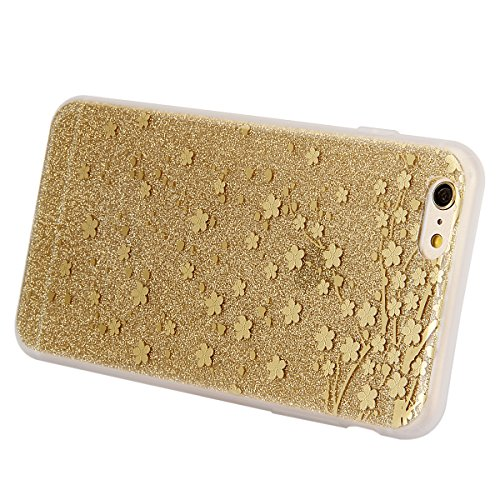 Cover iPhone 6S,Cover iPhone 6, ikasus® iPhone 6S / 6 Case Custodia Cover [Hard PC + TPU] Protettiva Trasparente con il modello che scorre copertura dura di plastica trasparente Custodia Cover chic Cr doro prugna Fiore
