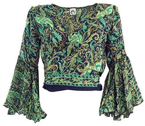 Guru-Shop Kurztop, Boho Blusentop, Wickeltop, Wickelbluse, Damen, Türkis, Synthetisch, Size:38, Tops & T-Shirts Alternative Bekleidung