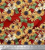 Soimoi Rot Baumwolljersey Stoff Blätter und Sonnenblumen