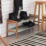 Pharao24 Garderoben Schuhregal aus Eiche Massivholz Edelstahl Breite 100 cm