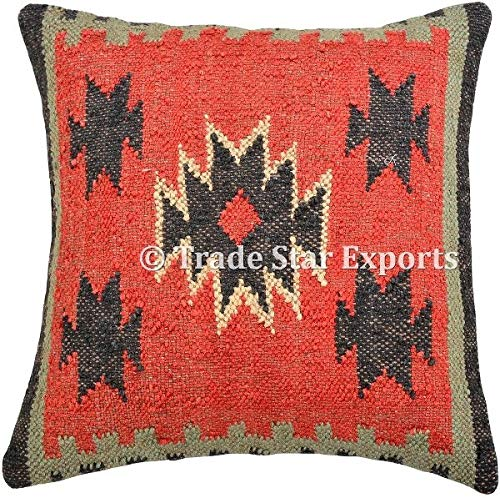 Trade Star Funda de cojín India Tejida a Mano Kilim, 45,7 x 45,7 cm, Funda de Almohada Cuadrada Decorativa...