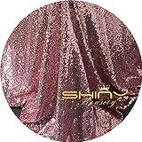 ShinyBeauty Pailletten Stoff Meterware Rosa Gold 2 Meter Pailletten Stoff Rosa Gold für Hintergrund/Tischdecken/Tischläufer DIY