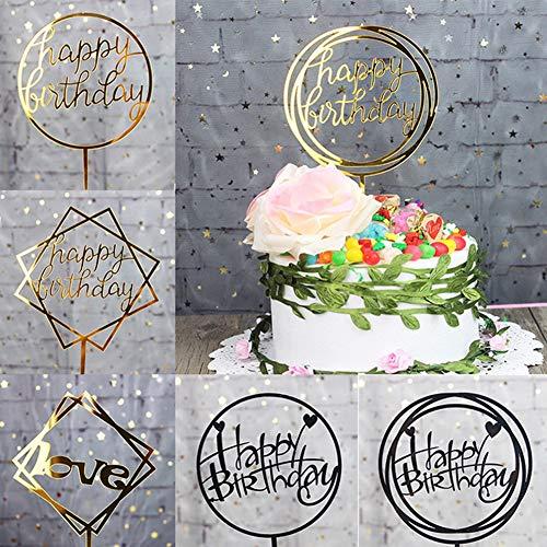 tz für Geburtstag, Kuchendekoration, 2 Stück Happy Birthday Love Cake Topper Acryl Buchstaben Top Flagge Hochzeit Party Dekoration 1 gold ()