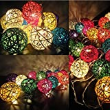 20 Balls Home Decoration Light Thai Mixed Color Rattan Ball String Lights Series (LADI) Festival Lamp Creative Gift Diwali Christmas Wedding Halloween (US Socket PIN)