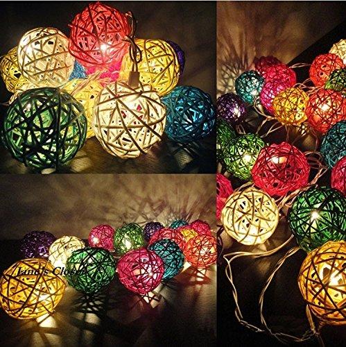 AtneP 20 Balls Home Decoration Light Thai Mixed Color Rattan Ball String Lights Series (LADI) Festival Lamp,(US Socket PIN)(Multi color)