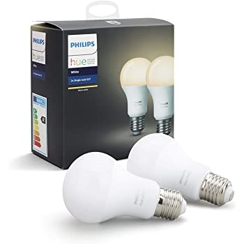 Philips Hue White - Pack de 2 Bombillas LED E27, 9 W, Iluminación Inteligente, Luz Blanca Cálida Regulable, Compatible con Amazon Alexa, Apple Homekit y ...