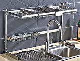 GRY 304 Edelstahl-Essstäbchen-Kasten-Gewürz-Gestell-Tellergestelle, Multi Funktions-Küche-Speicher-Regale,* 2 + Aufbewahrungskorb