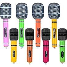 8 Piezas Micrófono Inflable Micrófono de Juguete Set para Materiales de Fiesta, Colores Variados,