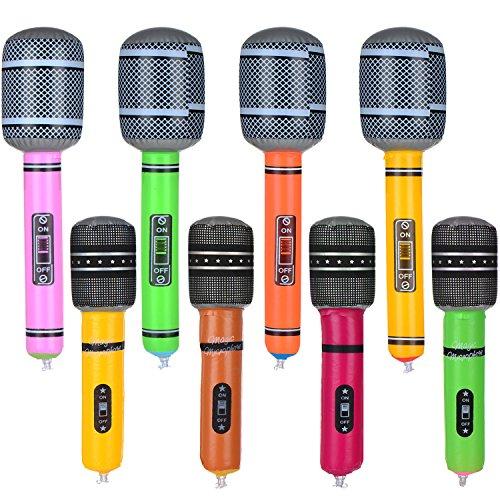 8 Stück Aufblasbare Mikrofon Spielzeug Mikrofon Set für Party Supplies, Verschiedene Farben, 2 ()