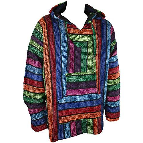Mexikanisches Baja-/Jerga-Kapuzenhemd, Hippie-Stil, Regenbogenfarben, Größen M / L / XL / XXL Gr. XL, mehrfarbig Baja Poncho