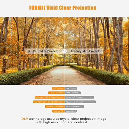 TOUMEI Mini DLP Projector  1080P portable projector with Build in Battery and Stereo Speakers  Android 7 1  Bluetooth  Auto Keystone  HDMI USB Micro SD slot  for Home Theater  ios Android