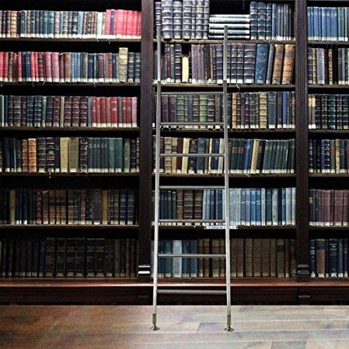 massiv Edelstahl Bibliotheksleiter Stufenleiter Bücher Regal Schrank Leiter 7 Sprossen (Anstellleiter eckig)