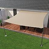 IBIZSAIL Premium Sonnensegel - Viereck (Quadratisch) - 300 x 300 cm - Sand - Wasserabweisend (inkl. Spannseilen)