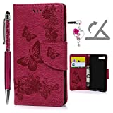 Sony Xperia X Compact Hülle, Pincenti PU Leder Flip Wallet Cover in Book Style Stand Case Card Slot Leder Tasche Case Karteneinschub und Magnetverschluß Kratzfestes und Schmutzunempfindliches in Rose Red Schmetterling für Sony Xperia X Compact + Stylus Stift +Staubstecker
