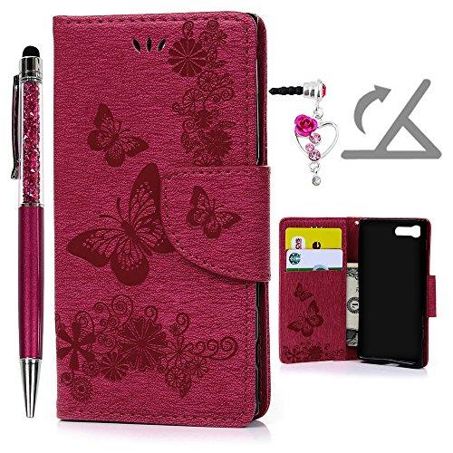 Geniric Handy Hülle für Sony Xperia X Compact PU Leder Flip Wallet Cover Stand Case Card Slot Tasche Karteneinschub Magnetverschluß Kratzfestes (Rose Red Schmetterling) mit Stylus Stift Staubstecker