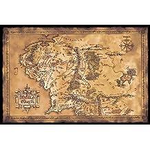 Póster El Señor de los Anillos Mapa de la Tierra Media (oscuro) (91,5cm x 61cm)