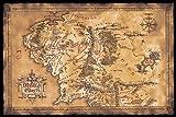Póster El Señor de los Anillos Mapa de la Tierra Media (oscuro)...
