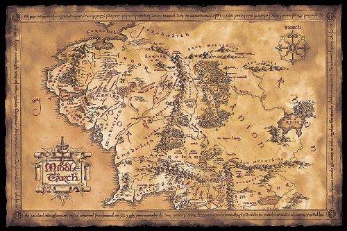 Póster El Señor Anillos Mapa Tierra Media oscuro