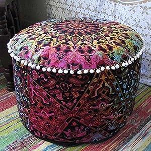indischen Mandala Hippie Bohemian Tapisserie Pouf osmanischen handgefertigt Pouf Cover, Deko rund Boden Kissen Fuß Stühlen Pouf Home Decor Stuhl Abdeckung Bohemian Decor 15x 24(nur Bezug)