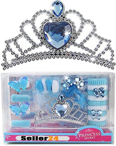 Eisprinzessin Kinder Set Krone Diadem Zubehör Schmetterling Elsa Haargummis 22 Teile Kostüm Verkleidung zum Kleid (Elsa Und Anna Tutu Kostüm)