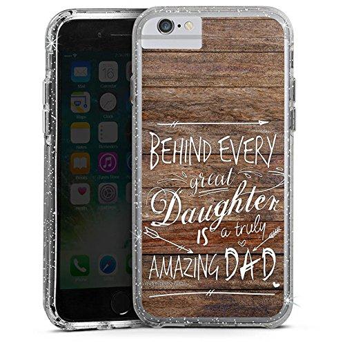 Apple iPhone X Bumper Hülle Bumper Case Glitzer Hülle Vatertag Spruch Dad Bumper Case Glitzer silber