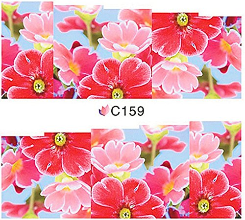 1 planche de Slider/Wrap/Full Cover Nail Stickers pour ongles, Hydrosoluble : C de 159 Fleurs