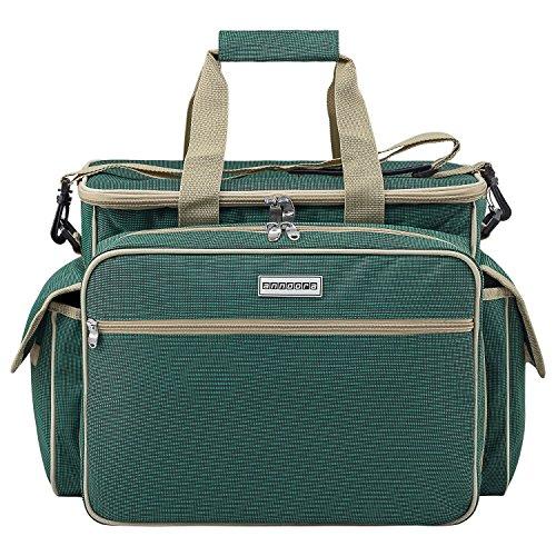 anndora Picknicktasche Tragetasche für 4 Personen inkl. 32 TLG. Zubehör - Grün
