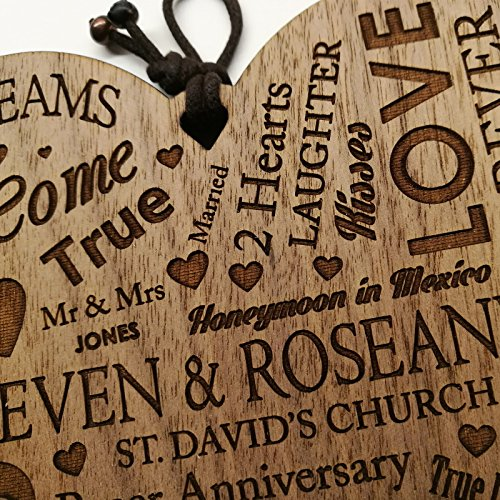 Wedding Anniversary Plaque Personalised Gift Marriage Anniversary Heart Present ~ Wooden Plaque