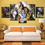 [Medium] Premium Quality Canvas Printed Wall Art Poster 5 Pieces / 5 Pannel Wall Decor Krishna & Radha Painting, Home Decor Pictures - With Wooden Frame