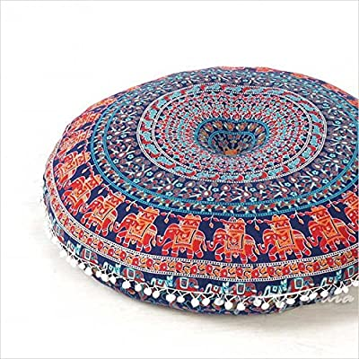 "EYES OF INDIA - 32"" Blue Bohemian Indian Decorative Floor Pillow Boho Mandala Hippie Cushion Sea - cheap UK light shop."