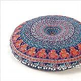 "EYES OF INDIA - 32"" Blue Bohemian Indian Decorative Floor Pillow Boho Mandala Hippie Cushion Sea"