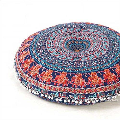 """Eyes of India - 32\"""" Bunt Runde Boden Meditation Kissen Sitz Überwurf Mandala Hippie Rund Bunt Dekorativen Indisch Boho Hundebett Bohemian Deckel - Blau, 32 in. (80 cm) Diameter"""