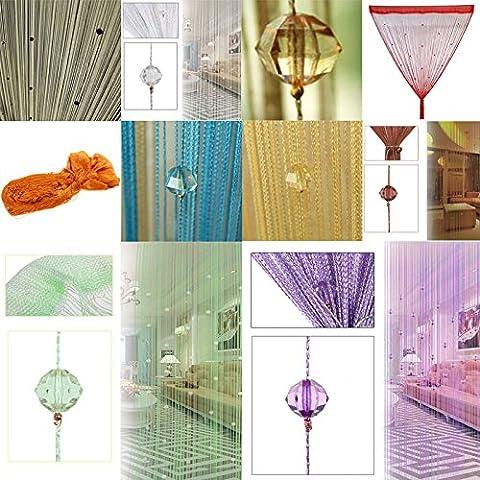 segurry 1pcs Filo decorativo perline tenda a pannello da parete frange stanza porta finestra persiane tenda divisorio Jabot pannelli sciarpe Forbici di livelli, Champagne