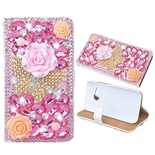 Preisvergleich Produktbild Evtech (tm) Schmetterling Blumen Strass Bling Kristall Glitter-Buch-Art-Folio-PU-Leder-Mappen-Kasten mit Handtasche Handyhalter & Kartensteckplätze for HTC One M8 Mini