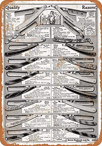 OURTrade 8 x 12 Metal Sign - 1919 Sears Straight Razors - Vintage Look -
