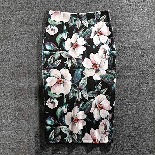 HEHEAB Rock,Pflanzenblumen, Grüne Blätter, Polyester, Baumwolle Plus Size Damen Röcke Lässige Print Blumen Bleistiftrock Lolita Style Knielange Röcke, XXXL - Style-blumen-print